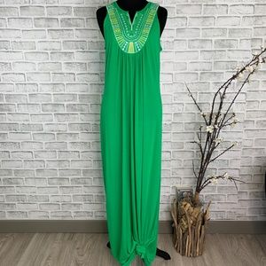 C Wonder Boho Embroidered Sleeveless Maxi Dress